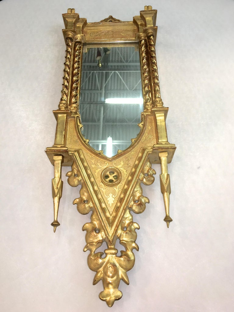 Giltwood Grand Tour Framed Gothic Mirror For Sale 4
