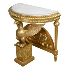 Giltwood Karl Johan Demi-Lune Console Table with Carved Phoenix, Sweden