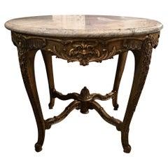 Giltwood Louis XV Center Table, 19th Century, Circular Marble Top