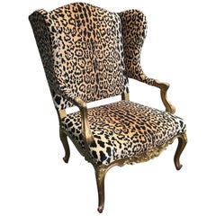 Giltwood Louis XV Style Wing Chair in Faux Leopard Velvet