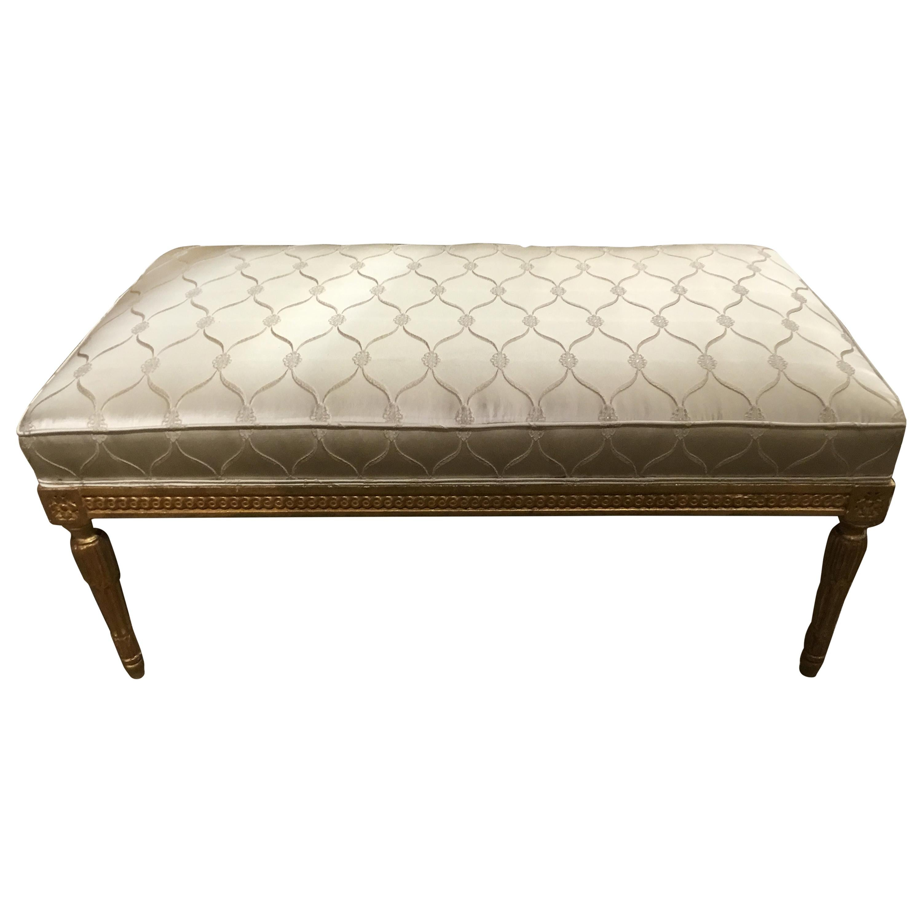 Giltwood Louis XVI Style Bench with Silk Upholstery