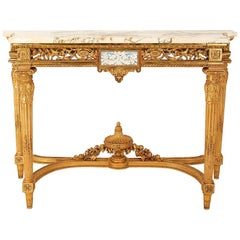 Giltwood Louis XVI Style Console, Grey Brèche Marble, 19th Century
