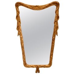 Giltwood Mirror with Drapery Motif, Italy, circa 1950s
