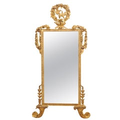 Giltwood Mirror with Rose Garland & Kissing Doves Crest, 19th Century Italy