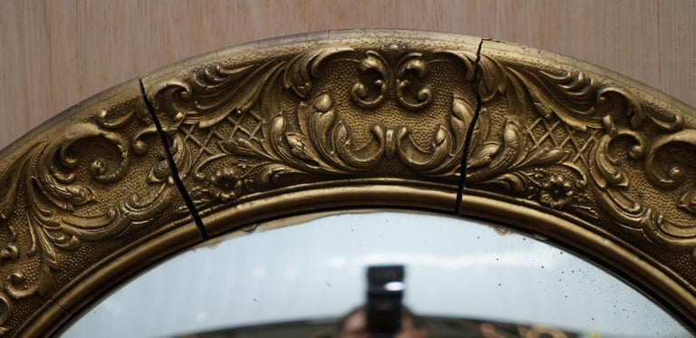 French Giltwood Ornate Frame and Plaster Regency Ships Style Convex Mirror Domed Glass For Sale