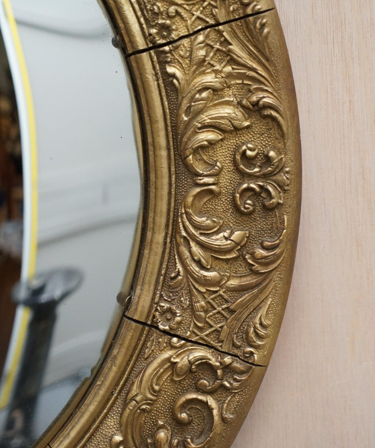 Giltwood Ornate Frame and Plaster Regency Ships Style Convex Mirror Domed Glass For Sale 1