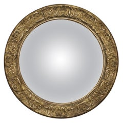 Giltwood Ornate Frame and Plaster Regency Ships Style Convex Mirror Domed Glass