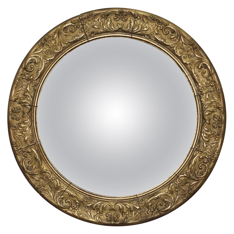 Giltwood Ornate Frame and Plaster Regency Ships Style Convex Mirror Domed Glass For Sale