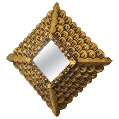 Rhombus Mirror in Carved Giltwood, Baroque Style