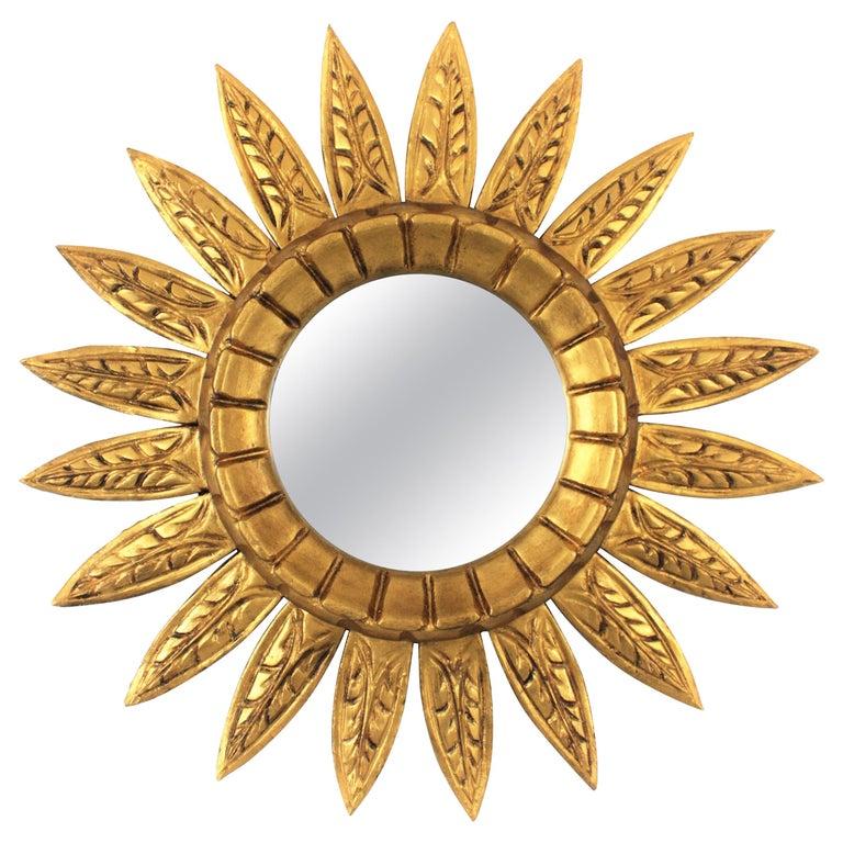 Mid-Century Modern Giltwood Sunburst Mirror For Sale