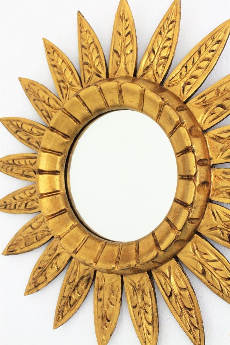 Spanish Giltwood Sunburst Mirror For Sale