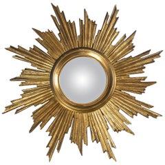 Giltwood Sunburst Mirror, France, Mid-20th Century