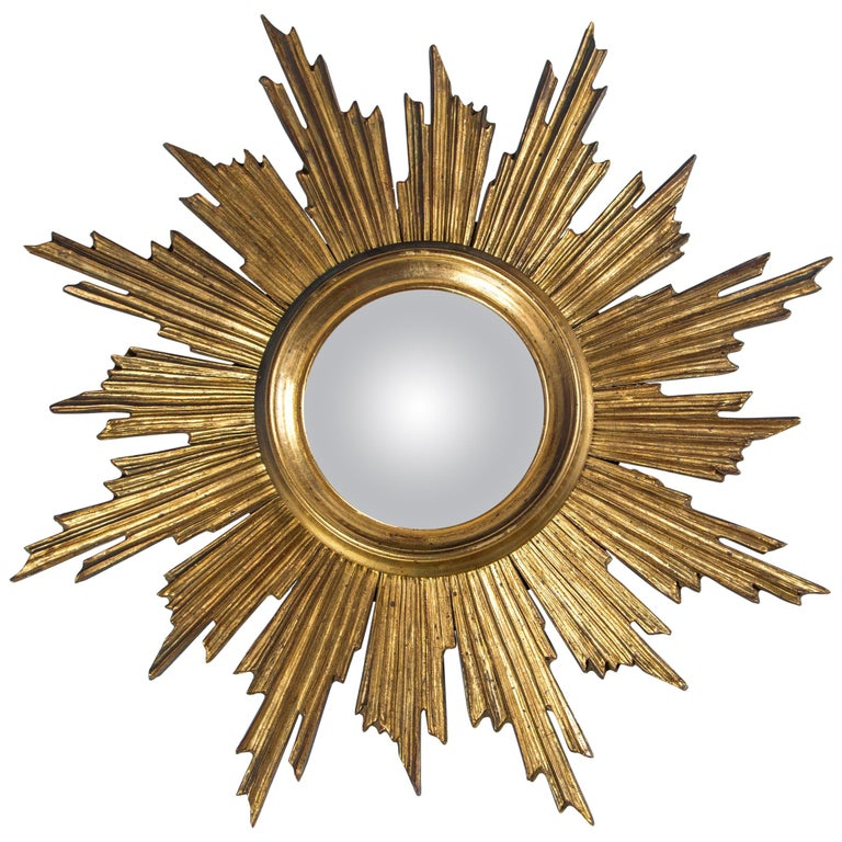 Giltwood Sunburst Mirror, France, Mid-20th Century For Sale