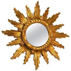 Giltwood Sunburst Mirror, Italy, 1960s