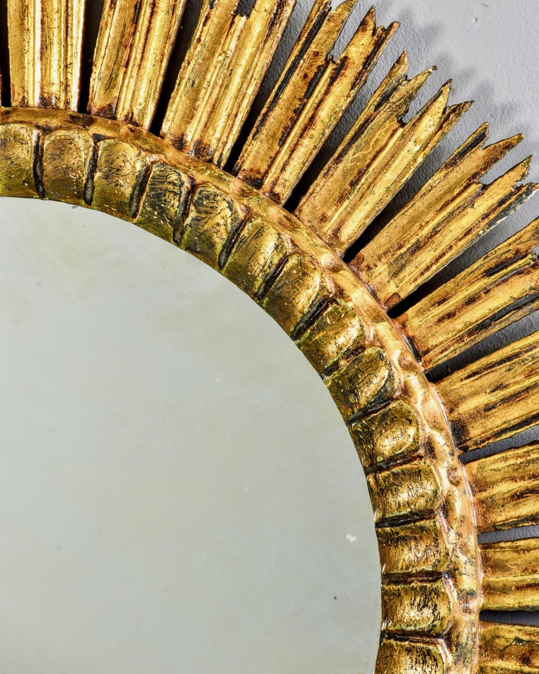Giltwood Sunburst Mirror with Short Rays For Sale 4