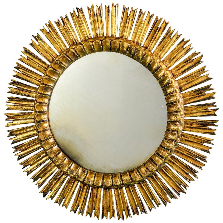 Giltwood Sunburst Mirror with Short Rays For Sale