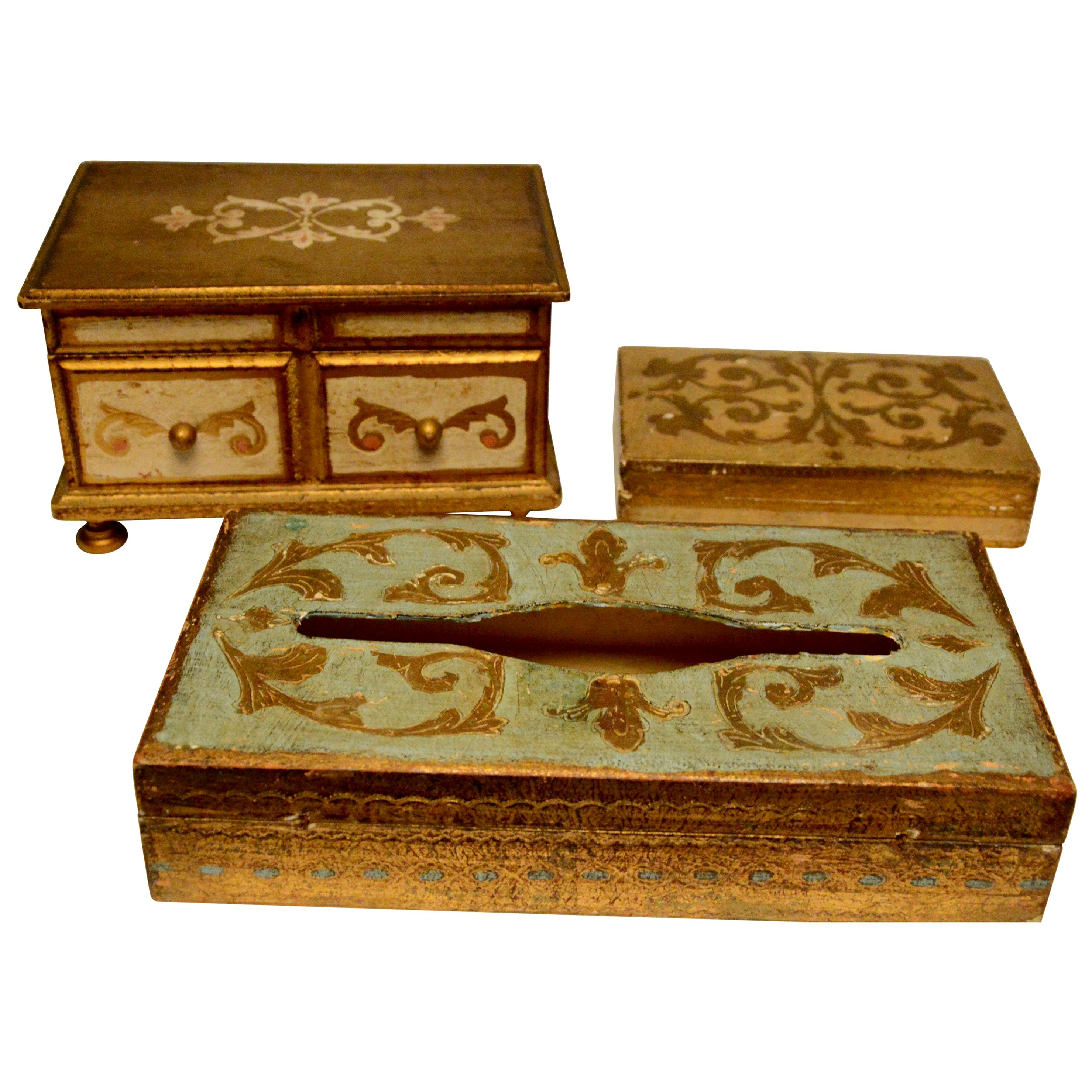 Giltwood Trinket Boxes and Tissue Box