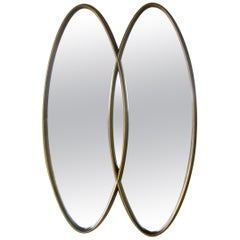 Giltwood Wall Mirror with Interlocking Double Oval Design