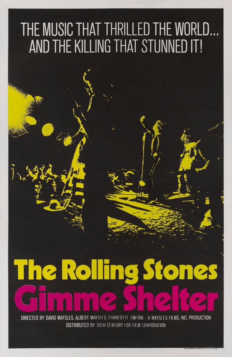 Original US film poster for the 1970 rock documentary directed by directed by Albert and David Maysles and Charlotte Zwerin The documentary chronicling 1969 tour and the tragic Altamont free concert. The film name was taken from the stones lead