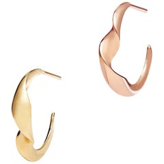 Gimmel Mixed Metal Gold Hoop Earrings