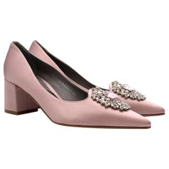 Gina Baby Pink Satin Court Heels with Crystal Embellishment 38