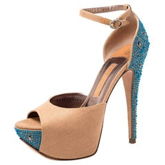Gina Beige Canvas Crystal Embellished Heel Ankle Strap Platform Sandals Size 37.