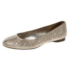Gina Beige Crystal Embellished Satin Ballet Flats Size 39.5