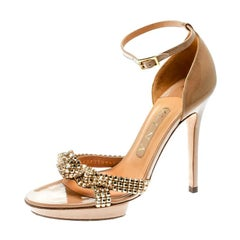 Gina Beige Leather Crystal Embellished Ankle Strap Platform Sandals Size 37