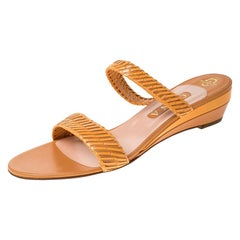 Gina Beige Leather Strappy Wedge Sandals Size 41.5