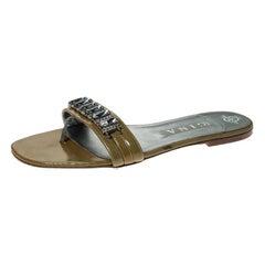 Gina Beige Patent Leather Crystal Embellished Slip On Flat Slides Size 41
