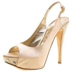 Gina Beige Satin Crystal Embellished Heel Peep Toe Slingback Sandals Size 38