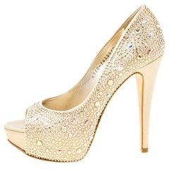 Gina Beige Satin Crystal Embellished Peep Toe Platform Pumps Size 37