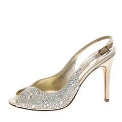 Gina Beige Satin Crystal Embellished Slingback Sandals Size 38