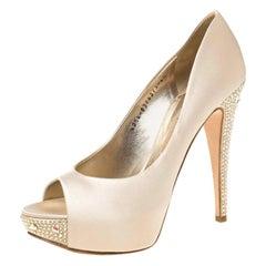 Gina Beige Satin Jenna Crystal Embellished Heel Peep Toe Pumps Size 39.5