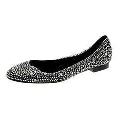 Gina Black Crystal Embellished Satin Ballet Flats Size 38.5