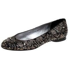 Gina Black Lace Crystal Embellished Ballet Flats Size 36