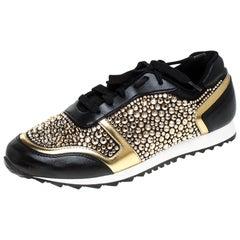 Gina Black Leather/Satin Luminosa Swarovski Sneakers Size 41