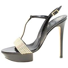 Gina Black Patent Leather Crystal Embellished Platform Sandals Size 37