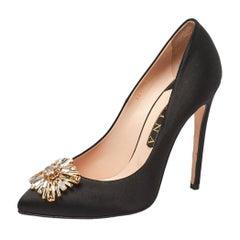 Gina Black Satin Swarovski Crystal Embellished Pumps Size 40