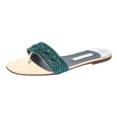 Gina Blue Crystal Embellished Leather Flat Sandals Size 41