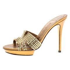 Gina Bronze Crystal Embellished Leather Platform Sandals Size 37
