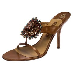 Gina Brown Leather Embellished Strappy Sandals Size 41