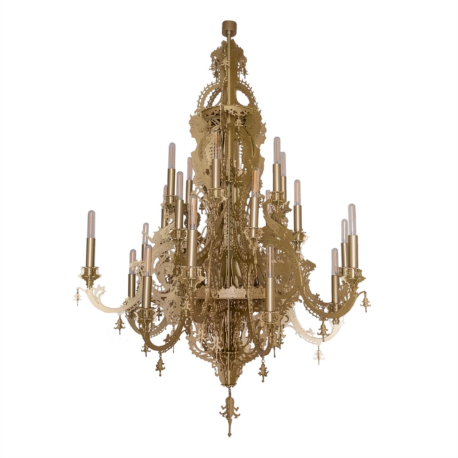 """""""Gina Vision"""" Contemporary Chandelier in Metallic Lace with 24 Lights"""