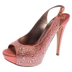 Gina Coral Orange Satin Crystal Embellished Peep Toe Slingback Sandals 40