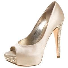 Gina Cream Satin Crystal Embellished Peep Toe Platform Pumps Size 37