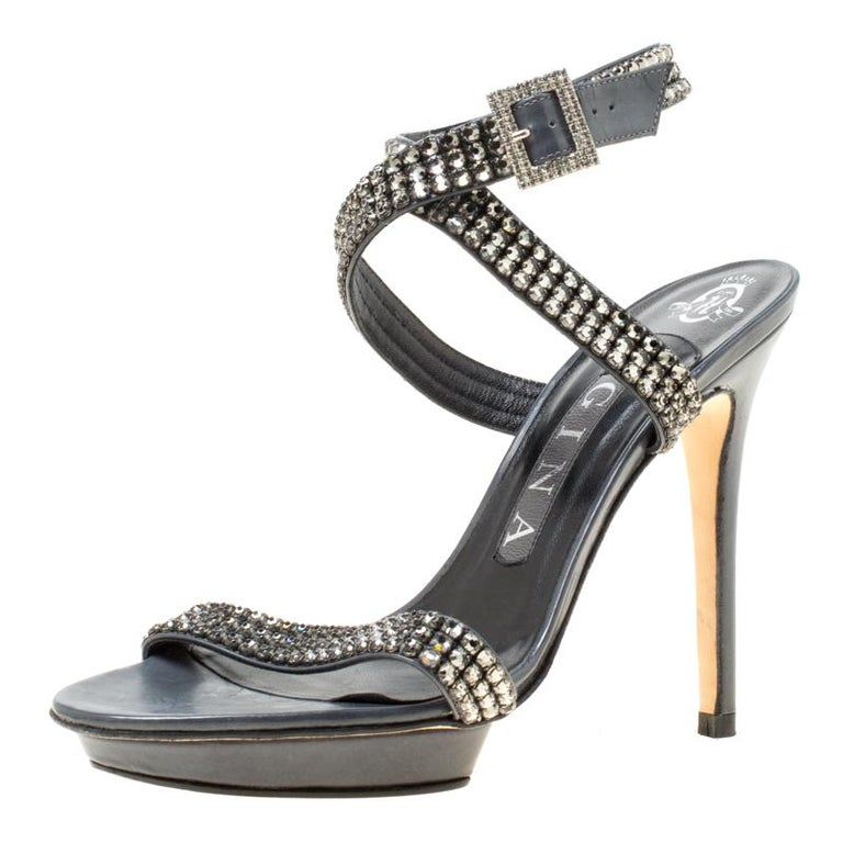 89b7510bc993 Gina Dark Grey Crystal Embellished Leather Cross Ankle Strap Sandals Size  37 For Sale