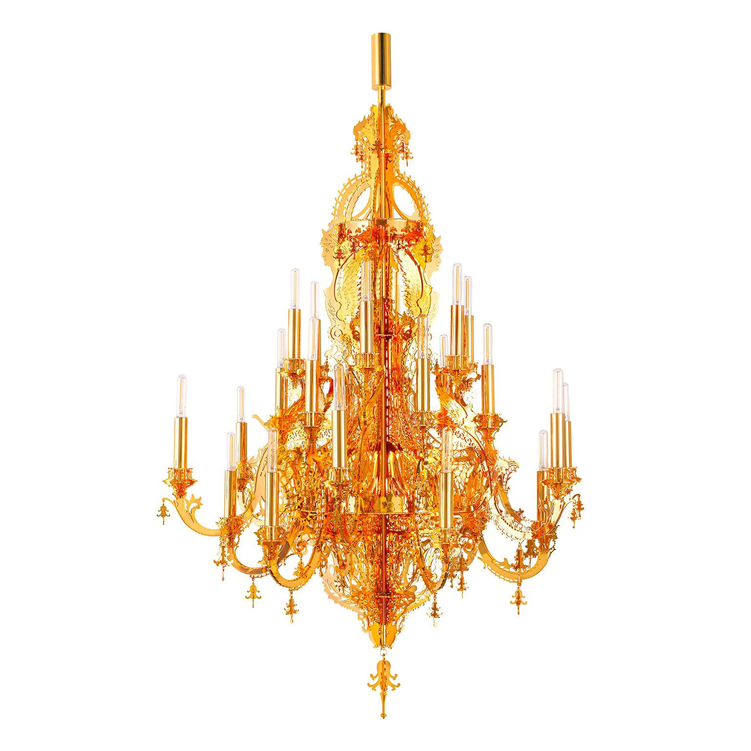 """Gina Gold 24k"" Modern Golden Chandelier, 24 Lights"
