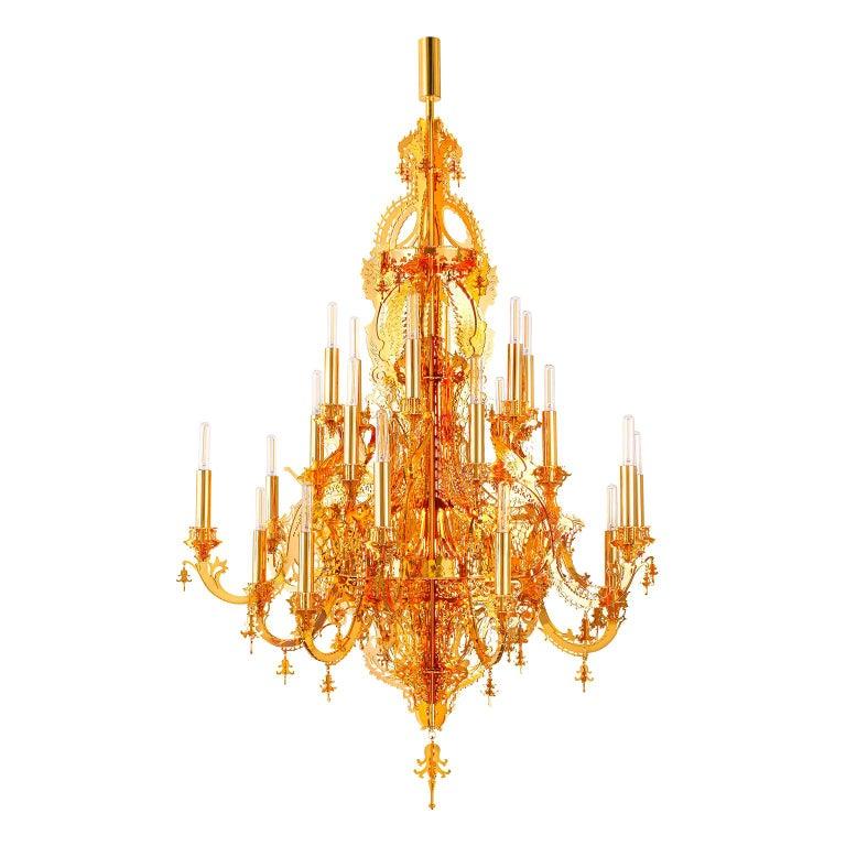 """""""Gina Gold 24k"""" Modern Golden Chandelier, 24 Lights For Sale"""