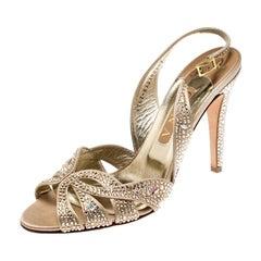 Gina Gold Crystal Embellished Satin Trudy Slingback Sandals Size 40