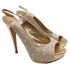 Gina Gold Leather Swarovski Crystal Peep-Toe Blosson Sandals 40